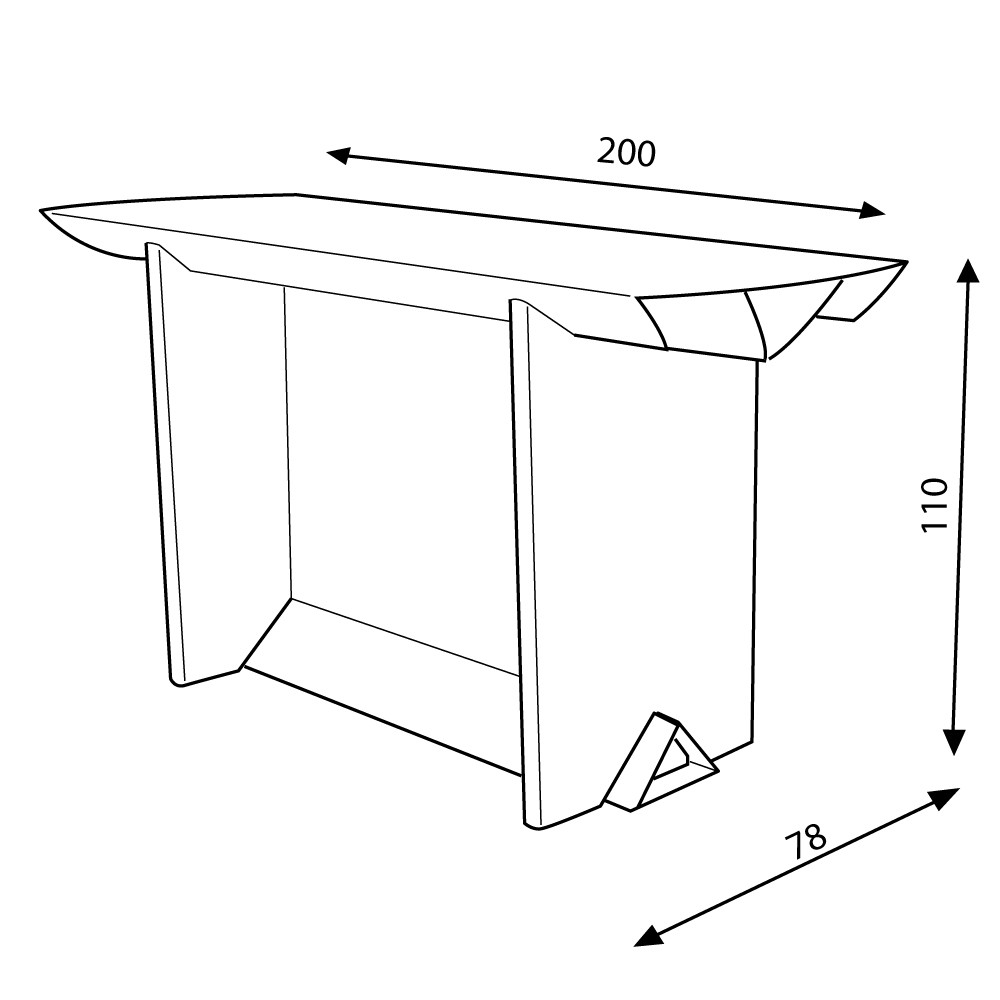 Table haute Ixi 200x78x110 cm